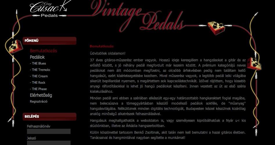 A Cusack pedálok honlapja