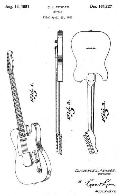 Fender tömörtestű gitár szabadalmi beadvány