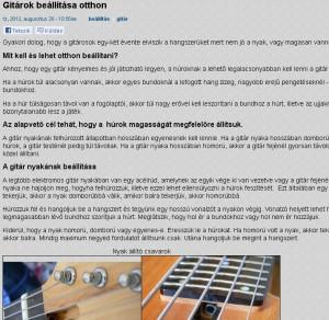 Fábián Zoltán weboldala, kezdő gitárosoknak