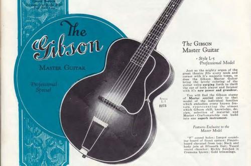 Korabeli Gibson-L5 hirdetés