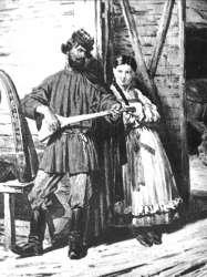 Balalajkás orosz kép a 18. századból