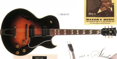 1949: Az első florentine kivágású Gibson elektromos gitár, az ES-175