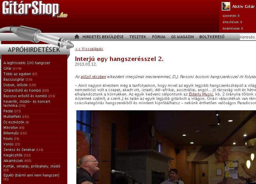 Gitárshop.hu: az interjú második fele