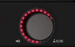 Az AMPLIFi Volume/Blend gombja a LED gyűrűvel
